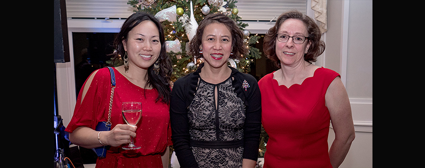 women at holiday party