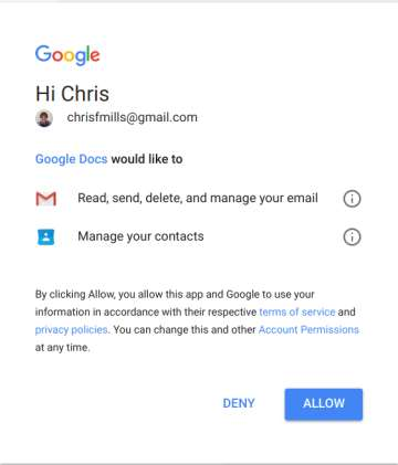 attacker permissions to email